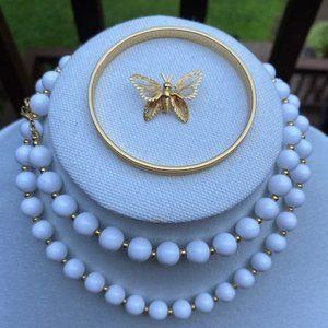 VTG MONET Signed White Beads Necklace Bangle Pin